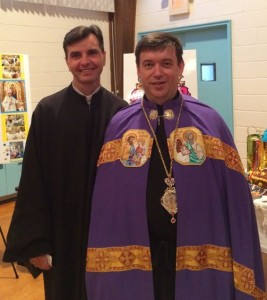 Greeting newly-installed bishop Andriy Rabiy